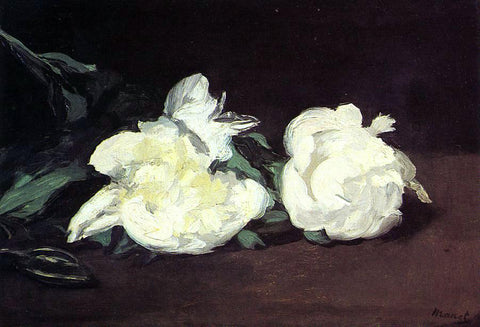 Edouard Manet Branch of White Peonies, with Pruning Shears - Hand Painted Oil Painting