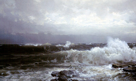 William Trost Richards Breakers at Beaver - Hand Painted Oil Painting