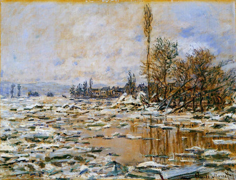 Claude Oscar Monet Breakup of Ice, Grey Weather - Hand Painted Oil Painting