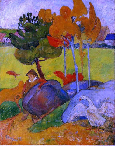 Paul Gauguin Breton Boy in a Landscape - Hand Painted Oil Painting