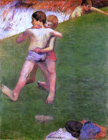 Paul Gauguin Breton Boys Wrestling - Hand Painted Oil Painting