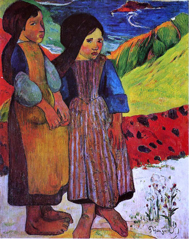 Paul Gauguin Breton Girls by the Sea - Hand Painted Oil Painting