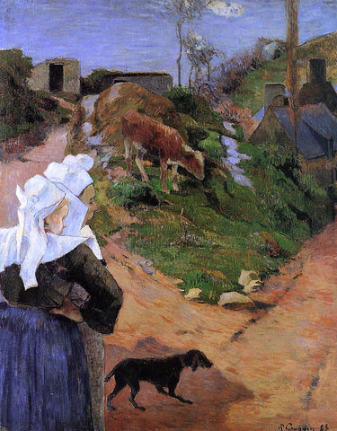 Paul Gauguin Breton Women at the Turn - Hand Painted Oil Painting