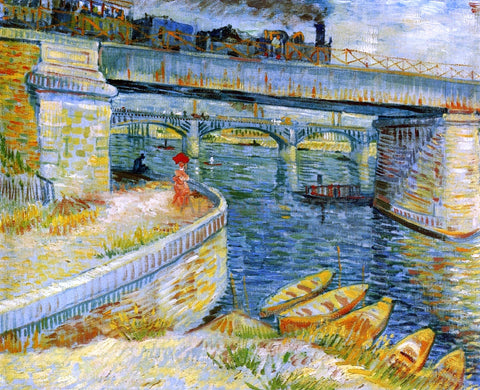 Vincent Van Gogh Bridges across the Seine at Asnieres - Hand Painted Oil Painting