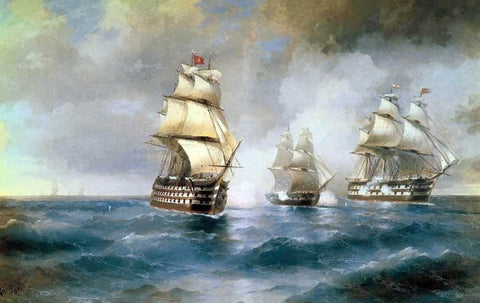 Ivan Constantinovich Aivazovsky Brig Mercury Attacked of Two Turkish Battleships - Hand Painted Oil Painting