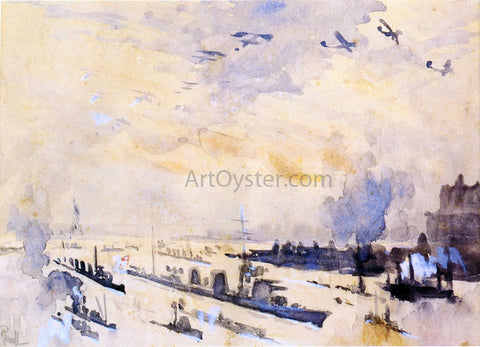 Joseph Pennell Bringing Home the Heroes After the Zeppelin Explosion - Hand Painted Oil Painting