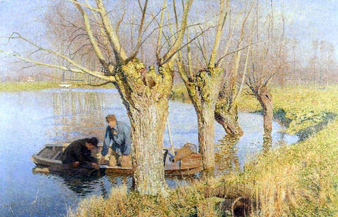 Emile Claus Bringing in the Nets - Hand Painted Oil Painting