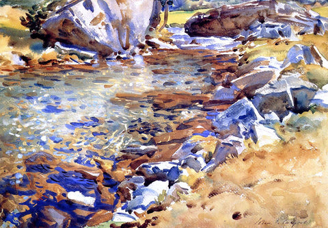 John Singer Sargent Brook Among the Rocks - Hand Painted Oil Painting