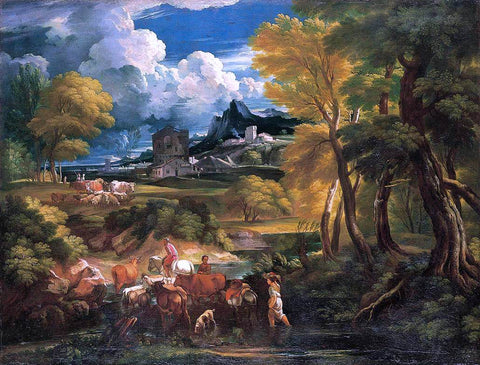 The Younger Pieter Mulier Bucolic Landscape - Hand Painted Oil Painting