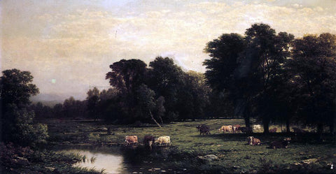 John W Casilear Bucolic Landscape with Cows - Hand Painted Oil Painting