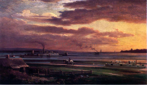 Lars Gustaf Sellstedt Buffalo Harbor from the Foot of Porter Avenue - Hand Painted Oil Painting
