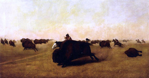 William Jacob Hayes Buffalo Hunt - Hand Painted Oil Painting