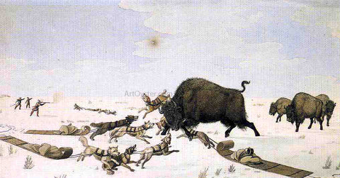 Peter Rindisbacher Buffalo Hunt - Hand Painted Oil Painting