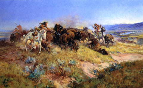 Charles Marion Russell Buffalo Hunt No.40 - Hand Painted Oil Painting