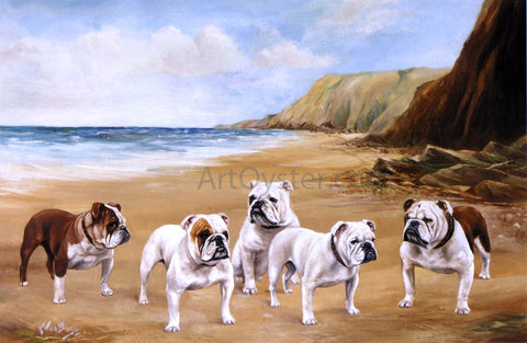 Reuben Ward Binks Bulldogs on the Beach - Hand Painted Oil Painting