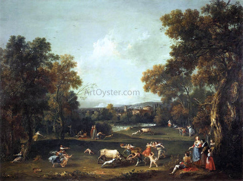 Francesco Zuccarelli Bull-Hunting - Hand Painted Oil Painting