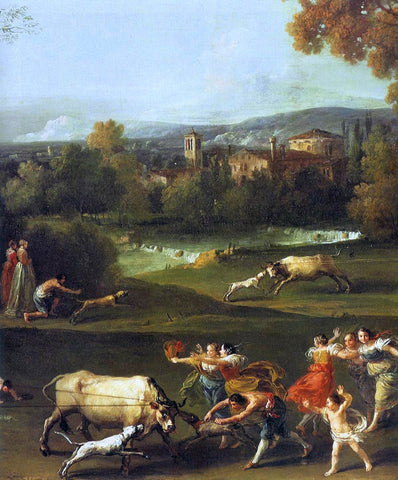 Francesco Zuccarelli Bull-Hunting (detail) - Hand Painted Oil Painting