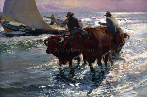 Joaquin Sorolla Y Bastida Bulls in the Sea - Hand Painted Oil Painting