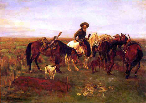 Richard Lorenz Burial on The Plains - Hand Painted Oil Painting