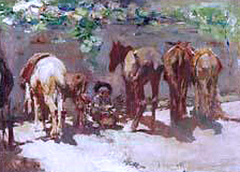 Jose Navarro Llorens Burros - Hand Painted Oil Painting