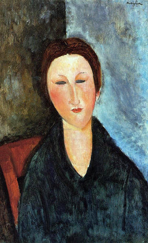Amedeo Modigliani Bust of a Young Woman (also known as Mademoiselle Marthe) - Hand Painted Oil Painting