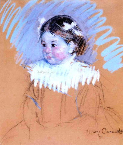 Mary Cassatt Bust of Ellen with Bows in Her Hair - Hand Painted Oil Painting