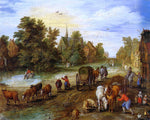 The Elder Jan Bruegel Busy Village Street with Resting Travellers - Hand Painted Oil Painting