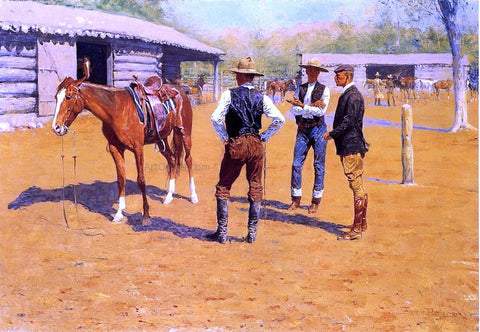 Frederic Remington Buying Polo Ponies in the West - Hand Painted Oil Painting