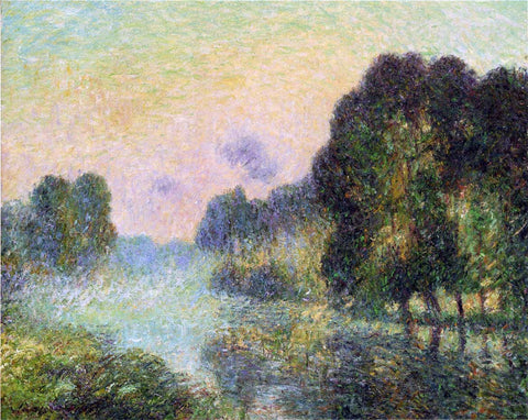 Gustave Loiseau By the Eure River - Fog Effect - Hand Painted Oil Painting