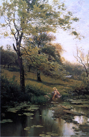 Arthur Parton By the Lily Pond - Hand Painted Oil Painting