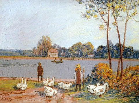 Alfred Sisley By the River Loing - Hand Painted Oil Painting