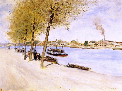 Jean-Francois Raffaelli By the Water in Springtime - Hand Painted Oil Painting
