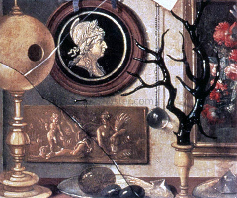 Domenico Remps Cabinet of Curiosities (detail) - Hand Painted Oil Painting