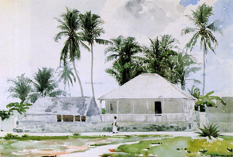 Winslow Homer Cabins, Nassau - Hand Painted Oil Painting
