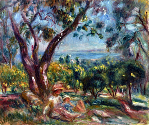 Pierre Auguste Renoir Cagnes Landscape with Woman and Child - Hand Painted Oil Painting