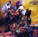 Lovis Corinth Cala lilies andn Lilacs with a Bronze Figurine - Hand Painted Oil Painting