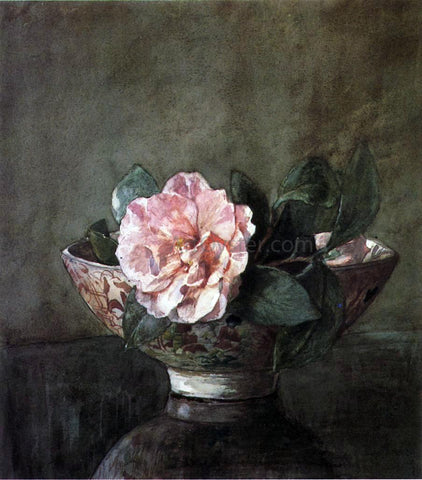 John La Farge Camellia in Old Chinese Vase on Black Lacquer Table - Hand Painted Oil Painting