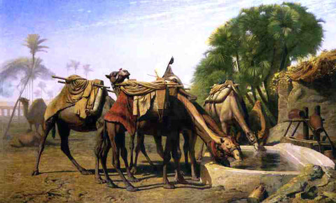 Jean-Leon Gerome Camels at a Watering Trough - Hand Painted Oil Painting
