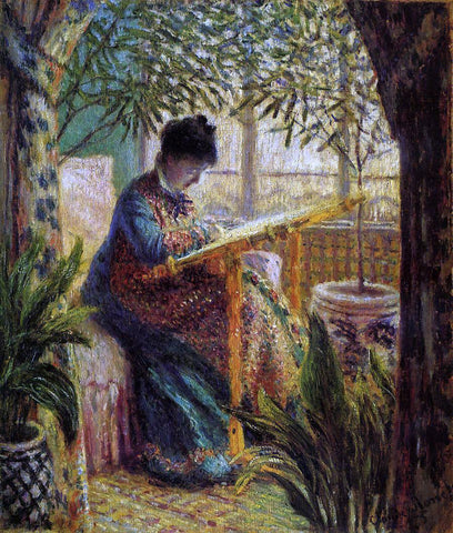 Claude Oscar Monet Camille Embroidering - Hand Painted Oil Painting