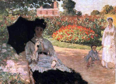 Claude Oscar Monet Camille in the Garden with Jean and His Nanny - Hand Painted Oil Painting