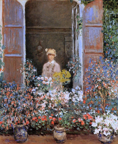 Claude Oscar Monet Camille Monet at the Window, Argentuile - Hand Painted Oil Painting