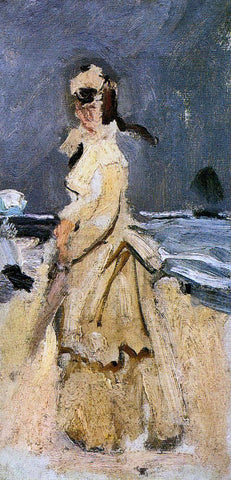 Claude Oscar Monet Camille on the Beach - Hand Painted Oil Painting