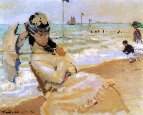 Claude Oscar Monet Camille on the Beach at Trouville - Hand Painted Oil Painting