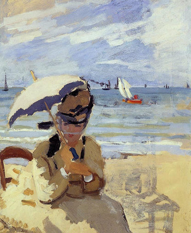Claude Oscar Monet Camille Sitting on the Beach at Trouville - Hand Painted Oil Painting