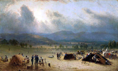Sanford Robinson Gifford Camp of the Seventh Regiment, near Frederick, Maryland, in July 1863 - Hand Painted Oil Painting