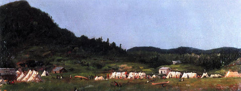 Eastman Johnson Camp Scene at Grand Portage - Hand Painted Oil Painting