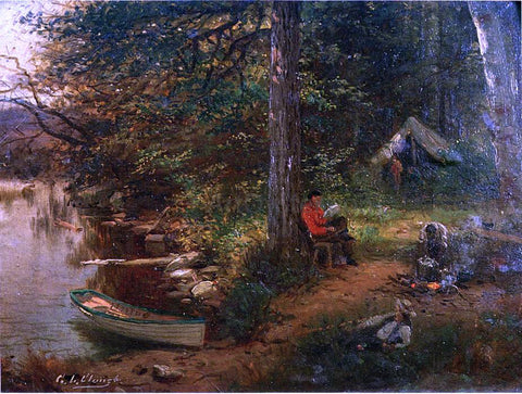 George Lafayette Clough Camping Out in the Adirondacks - Hand Painted Oil Painting