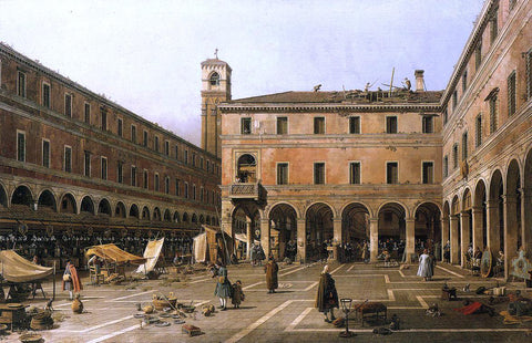 Canaletto Campo di Rialto - Hand Painted Oil Painting
