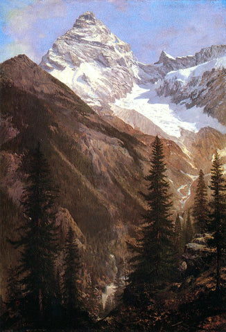 Albert Bierstadt Canadian Rockies, Asulkan Glacier - Hand Painted Oil Painting