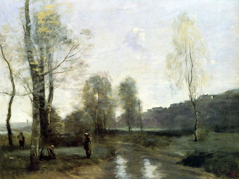 Jean-Baptiste-Camille Corot Canal in Picardi - Hand Painted Oil Painting
